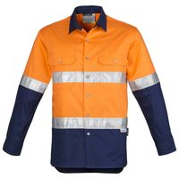 Mens Hi Vis Spliced Industrial Shirt - Hoop Taped Thumbnail