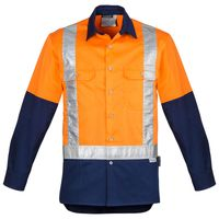 Mens Hi Vis Spliced Industrial Shirt - Shoulder Taped Thumbnail