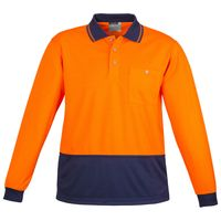 Unisex Hi Vis Basic Spliced Polo - Long Sleeve Thumbnail