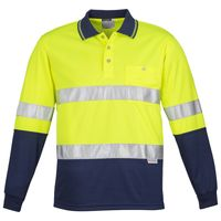 Mens Hi Vis Spliced Polo - Long Sleeve Hoop Taped Thumbnail